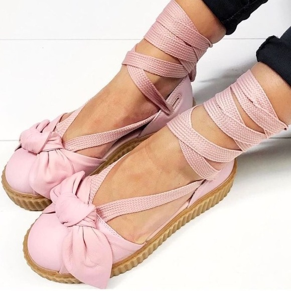 outlet store 42fc1 8944f Fenty x Puma by Rihanna Bow Creeper Sandals Pink NWT
